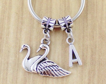Personalized Swan Keychain - Swans Key Chain - Swans Keyring - Bird Swan Gift - SRA 23047-39