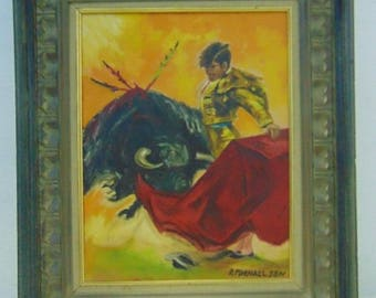 Framed Oil on Canvas Signed Matador Painting 24 3/4'' x 20 3/4'' by R. Michaelson