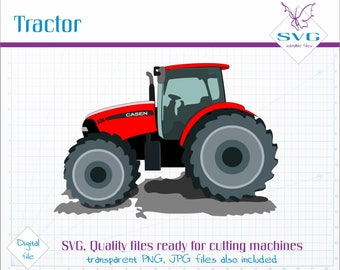 Red Tractor SVG clipart, Vector clip art, Modern Truck SVG file, Tractor cut file, Vector art, Bright red tractor clipart