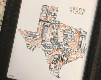 AUSTIN TEXAS Skyline Cityscape Landmarks Art Print