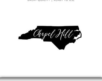 North Carolina State Outline Chapel Hill Graphic - North Carolina Chapel Hill SVG - North Carolina Silhouette - Ready to Use!