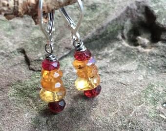 Hessonite garnet and Sterling silver earrings