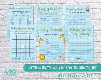 Printable Set of 6 Noah's Ark Baby Shower Games & Advice for Mom Card | PDF, Instant Download, Ready to Print, Files NOT Editable