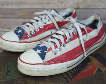 Vintage Converse All-Stars Stars & Stripes USA Flag low top Shoes mens 9 1/2