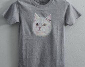 White cat,painting on shirt