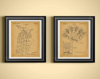 US History Teaching Patent United States of America Teacher Wall Art USA Card Game Patent America Artwork Classroom Decor Set of 2 PP 6215