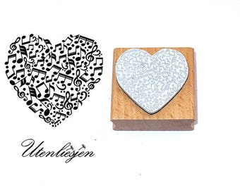 Stamp heart with notes, rubber stamp 40x35 mm