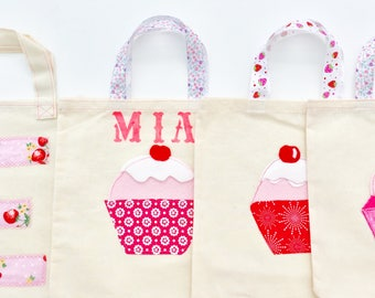 Quality Handmade Personalised Cupcake Appliqué Fabric Party/Favor Bags