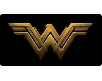 Wonder Woman On Black Photo License Plate - LPO3359