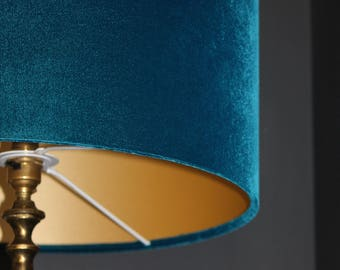 Teal velvet  drum lampshade with gold, copper or coloured cotton lining