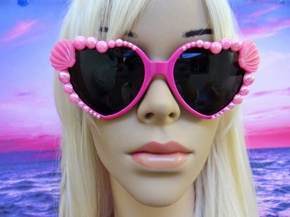 I'm Really A MERMAID Sunglasses Sun Glasses Sunnies Heart Shaped Ariel Love Pink Barbie Disney Nautical Pinup The Little Retro Vintage A014