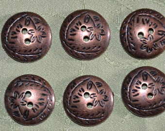 set of 6 fancy copper coloured buttons