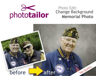 Memorial Photo Editing. Change Background, Remove people, Portrait Retouching,  Seamless photo composite from different photos. Printable