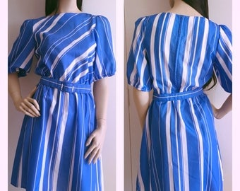 Vintage 80s  Dress, Blue and White Diagonal Striped Polyester Office Fashion - XS/S