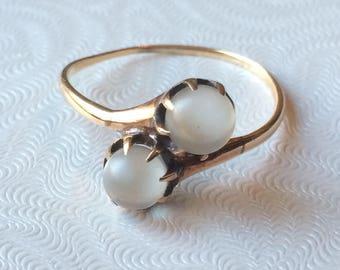 Vintage 10K Moonstone Ring, Moi et Toi Double Moonstone Ring, Size 8.25