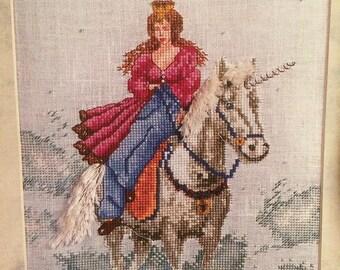 Princess and Unicorn Cross Stitch Chart