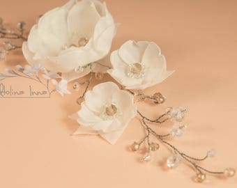 wedding accessories for hair chiffon crystals hairclip white flowers