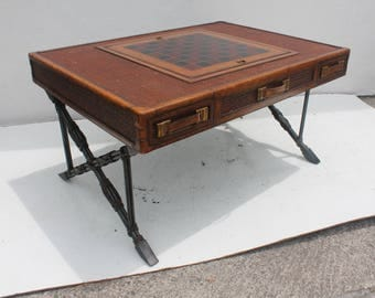 Maitland  Smith  X- Base  Game Coffee Table .
