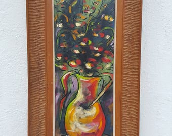 1962 Still Life Flowers  Painting By P.Beawoir.
