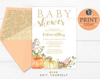 FALL Baby Shower Invitations, Pumpkin Baby Shower Invitations, editable pumpkin Baby Shower Invitation, Watercolor Pumpkin Invitation, Fall