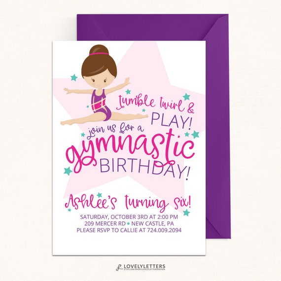 Gymnastics invitation gymnastic birthday invitation digital il570xn stopboris Images