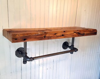 Reclaimed Wood Shelf, Towel Bar Shelf, Rustic Shelf, Bathroom shelf, Natural edge shelf, Industrial Shelf, Barn Wood Shelf, Kitchen Shelf