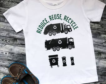 Reduce, Reuse, Recycle Garbage Day Recycling day Garbage trucks and garbage cans Toddler Infant Unique Gift Tee, bodysuit, tshirt