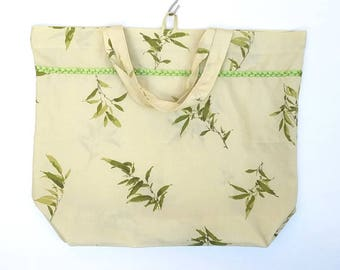 Reusable Shopping Bag Tote Bag | Botanical Leaf Design | Upcycled Repurposed Fabric | Cloth Market Grocery Bag