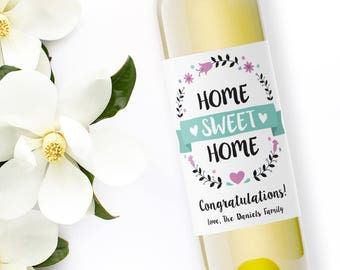 housewarming wine labels / custom wine label / gift for the new homeowner / congratulations new house / home sweet home / WLH-07