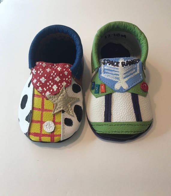Toy Story Slippers : Toy story leather moccasins woody and buzz lightyear shoes
