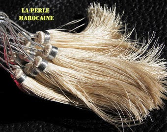 Creation! artisnale 2 tassel 100% silk beige + 13 cm BEAD TASSEL SILK