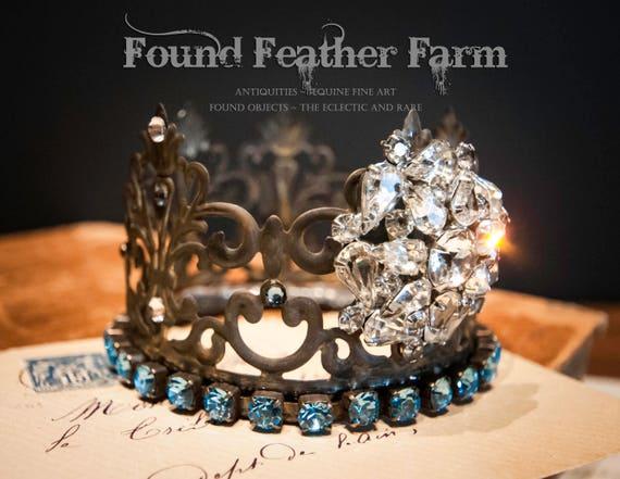 Beautiful Handmade Crown Embellished with Vintage Jewels and Azure Rhinestones