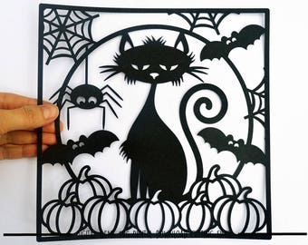 Halloween black cat paper cut svg / dxf / eps / files and pdf / png printable templates for hand cutting. Digital download.