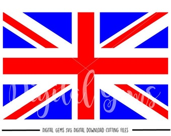 Union Jack Flag svg / dxf / eps / png files. Digital download. Compatible with Cricut and Silhouette machines. Small commercial use ok.