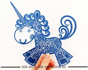 Zentangle Unicorn paper cut svg / dxf / eps / files and pdf / png printable templates for hand cutting. Download. Small commercial use ok