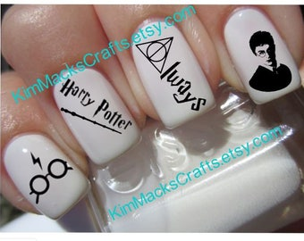 Harry Potter waterslide nail decal set custom monogram nail art 24 manicure pedicure personalized harry potter water slide decal