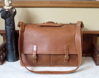 Coach Executive Briefcase In British Tan Leather With Brass Hardware Style No 5260 - Made In United States - EUC