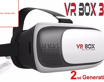 Google's 2nd Gen. Cardboard VR Box Virtual Reality 3D Glasses Bluetooth Control by Skanda Plus
