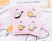 SET OF 4 // Punny Dimsum Pins - The Punny Dimsum Collection [Enamel Pin, Flair Pin, Punny Pins] // PIN006-PIN009