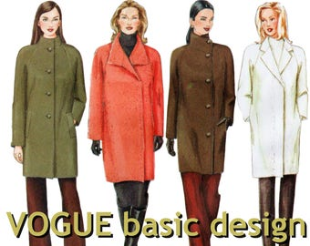 "Raglan Sleeve Coat Pattern VOGUE BASIC DESIGN 2472 bust 34-38"" Womens Coat Pattern Above the Knee Coat Below the Hip Coat Misses Coat"