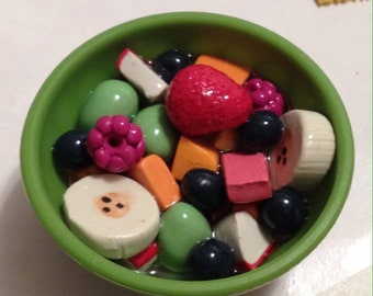 Fruit bowl for American girls and 18 inch dolls. 2 Piece (bowl, fruit, spoon).  Multi-purpose bowl.  Use bowl for all kinds of food!