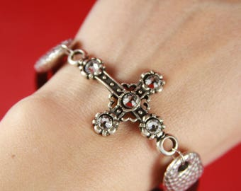 10/7 MADE in EUROPE zamak cross connector with Swarovski crystals, bracelet cross connector, bracelet cross connector (77063/21z2) qty 1