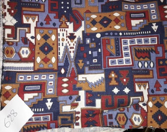 No. 628 fabric in 100% cotton FLEECE print blue red ORANGE - VINTAGE RETRO STYLE