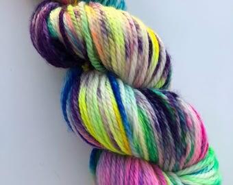 Fizz Wizz Hand Dyed Neon Bright Rainbow Superwash Merino Yarn Aran Worsted Weight