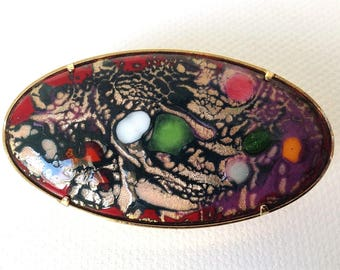 Vintage french enamel brooch, handmade enamel on copper pin, OOAK brooch