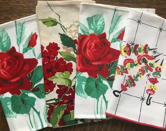 Vintage Linens~Four WILENDUR Napkins~1950's~Red American Beauty Roses~Phlox~MCM Mid-Century BBQ~Wilendure~Kitchen Textiles~3 Unused