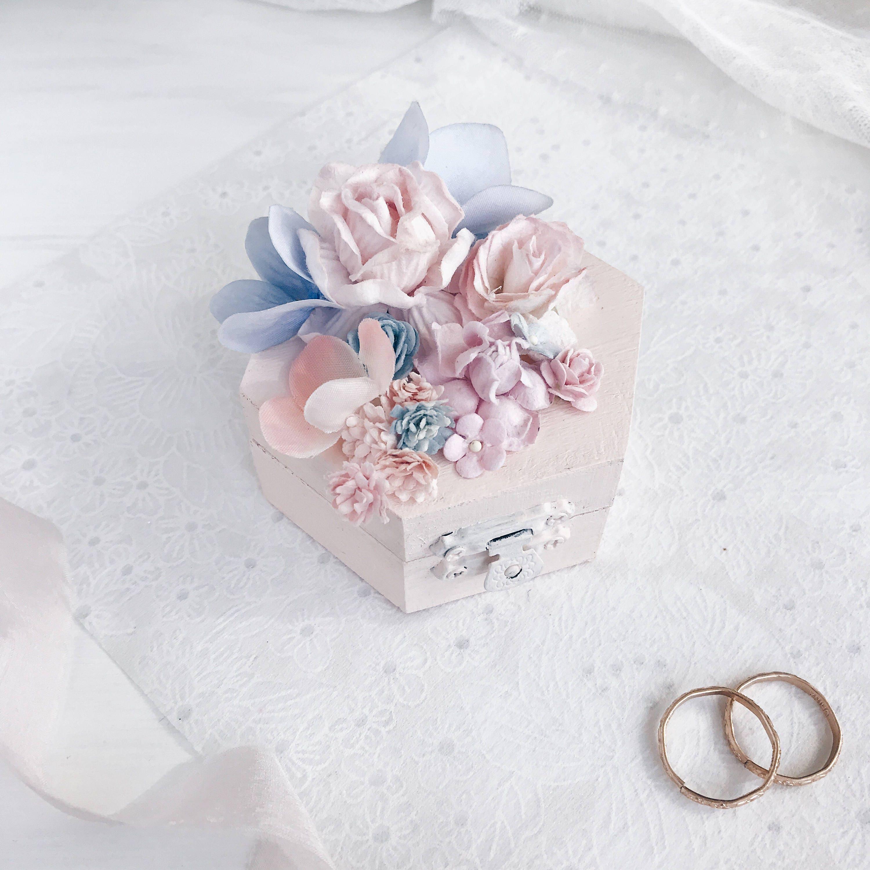 Pink Blue Wedding Ring holder, Ring Bearer Box, Wedding Ring Box ...