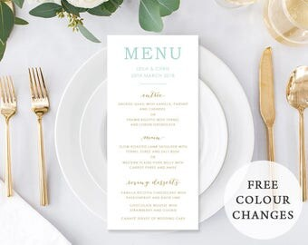 Wedding Menu, Custom Printable Menu, Mont and Gold, DIY Wedding, Corporate Menu, Print Your Own, Digital, Urban Elegance Suite