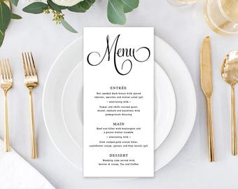 Wedding Menu, Custom Printable Menu, Digital, Black and White Wedding, Free Colour Changes, DIY Wedding, Annabel Suite