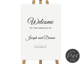 Printable Wedding Welcome Sign, Digital File or Professionally Printed, Modern Script Wedding Poster, Black and White, Timeless Suite